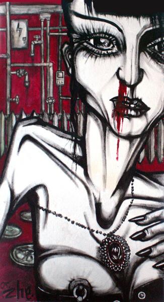 2005 POLNUDKI SURNUD - WASN_T DEAD, akrüül puitkiudplaadil - acrylic on hardboard, 99,5 x 55 cm, Kaia Otstak