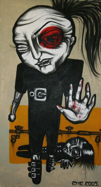 2005 SOOV KATSUDA - THE DESIRE TO TOUCH, akrüül puitkiudplaadil - acrylic on hardboard, 99,5 x 55 cm, Kaia Otstak