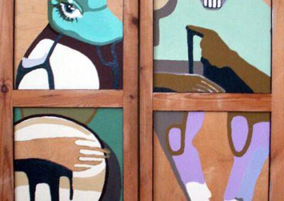 2006 AGANAD - THE AGANAS, akrüül puidul - acrylic on wood, 2x 127,5 x 49,5 cm, Kaia Otstak