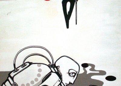 2006 JALUTUSKÄIK LEMMIKPÄIKESE PAISTEL I - A WALK BY THE SUNSHINE OF THE FAVORITE SUN I, akrüül puitkiudplaadil - acrylic on hardboard, 110 x 121,5 cm, Kaia Otstak
