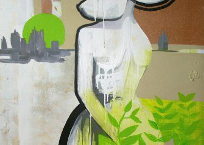 2007 SEALPOOL UNISTUSTE SILMAPIIRI - BEYOND THE HORIZON OF DREAMS, akrüül puitkiudplaadil - acrylic on hardboard, 75 x 83 cm, Kaia Otstak