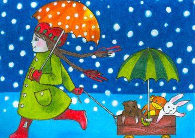 2007 TALI II - WINTER II, tint, pliiats - ink, pencil, A4, illustration for the magazine Mesimumm, Kaia Otstak