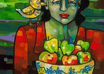 2008 SOSINAL - THE WHISPERING, akrüül lõuendil - acrylic on canvas, 77 x 77 cm, Kaia Otstak