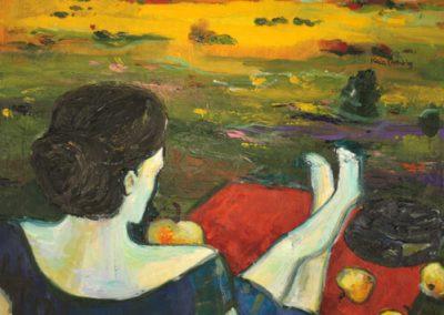 2009 NAINE SINISES - THE WOMAN IN BLUE, õli puitkiudplaadil - oil on hardboard, 60 x 50 cm, Kaia Otstak