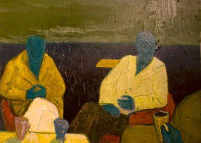 2010 ISTUJAD - THE SEDERUNT, akrüül puidul - acrylic on wood, Kaia Otstak