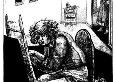 2010 Nekromanteion illustration, JUUKSEVAIBAKUDUJAD, tint - ink, A3, Kaia Otstak