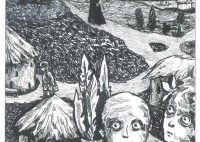 2010 Nekromanteion illustration, QUO VADIS, FRANCISCO, tint - ink, A3, Kaia Otstak
