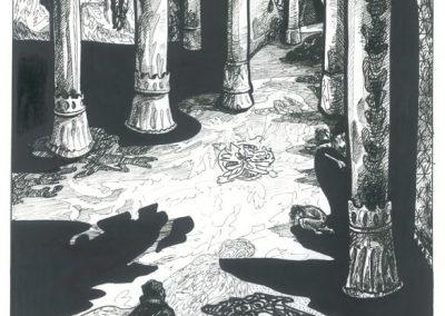 2010 Nekromanteion illustration, VIIMASE KEVADE LAUL, tint - ink, A3, Kaia Otstak