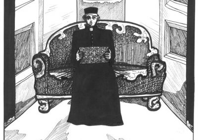 2011 Nekromanteion illustration, ÄÄRETU MÕISTATUS, tint - ink, A3, Kaia Otstak