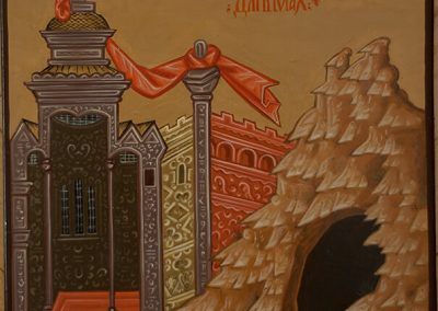 2011 ikoonidetail MAJAD-MÄED - icon detail HOUSES-MOUNTAINS, tempera puidul - tempera on wood, 19,8 x 19,8cm, Kaia Otstak
