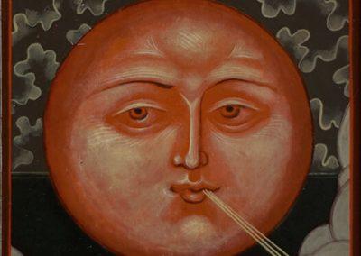 2011 ikoonidetail PÄIKE - icon detail SUN, tempera puidul - tempera on wood, 12,5 x 11cm, Kaia Otstak