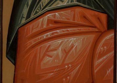 2011 ikoonidetail PÜHAKU VARRUKAS - icon detail THE SLEEVE OF THE SAINT, tempera puidul - tempera on wood, 19,8 x 15cm, Kaia Otstak