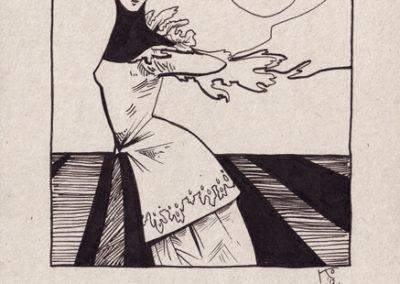 2012 AK2, tint - ink, A5, illustration for the journal Akadeemia, KaiaOtstak
