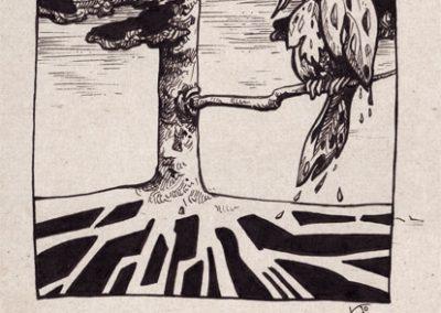 2012 AK5, tint - ink, A5, illustration for the journal Akadeemia, KaiaOtstak