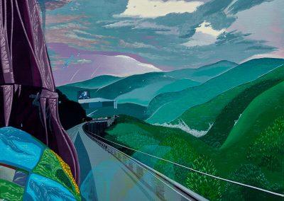2014 Kilomeetrid - Kilometres, BG, akrüül lõuendil - acrylic on canvas, 80 x 100 cm, Kaia Otstak