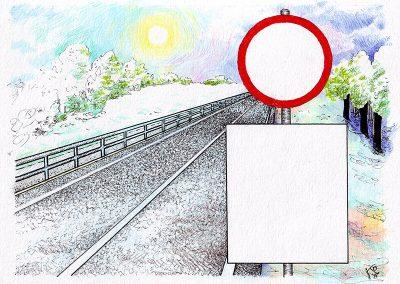 2014 TORUPIIRE - THE BARRIER, tint, pliiats - ink, pencil, A5, illustration for the magazine Teeleht, Kaia Otstak