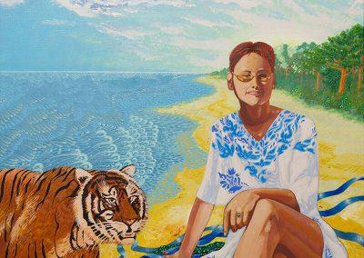 2016 PEIPSI KALDAL - ASHORE OF THE LAKE PEIPSI, akrüül lõuendil - acrylic on canvas, 60 x 70 cm, Kaia Otstak