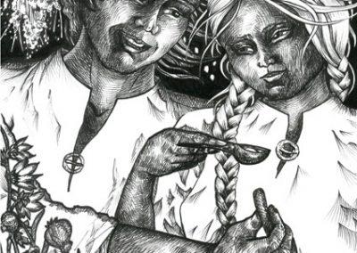 2016 Tõde ja õigus I - Truth and Justice I, KAARLI LUSIKA PÄRAST - BECAUSE OF THE KAAREL_S SPOON, tint - ink, A4, Kaia Otstak