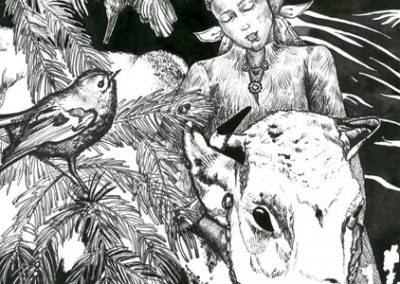 2016 Tõde ja õigus I - Truth and Justice I, LEHMAGA KÕRVU - BESIDE THE COW, tint - ink, A4, Kaia Otstak