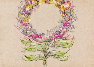 2018 SEBRALILL I - ZEBRA FLOWER I, tint, segatehnika - mixed technique, A4, illustration for the Indrek Liit symphony_s CD, Kaia Otstak
