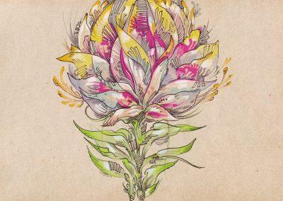 2018 SEBRALILL II- ZEBRA FLOWER II, tint, segatehnika - mixed technique, A4, illustration for the Indrek Liit symphony_s CD, Kaia Otstak
