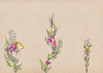 2018 SEBRALILL III- ZEBRA FLOWER III, tint, segatehnika - mixed technique, A4, illustration for the Indrek Liit symphony_s CD, Kaia Otstak
