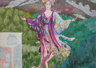 2019 Mazzano Romano CALCATA VAADE - THE VIEW OF CALCATA, segatehnika paberil - mixed on paper, 45 x 44,5 cm , Kaia Otstak